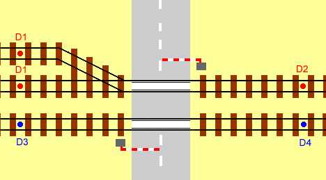 diagram for double track level crossing showing location of detectors for a converging line