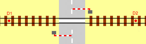 diagram showing location of detectors for a single track automatic half barrier level crossing (ahb)