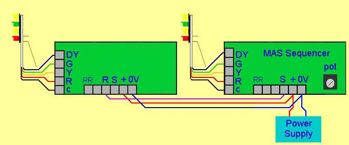 wiring for route indicator signal and second multi aspect signal in sequence