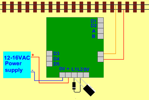 Using a diode and capacitor the SA1.1 shuttle can be powered by AC