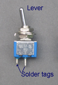 Diagram to show an on off SPST toggle switch