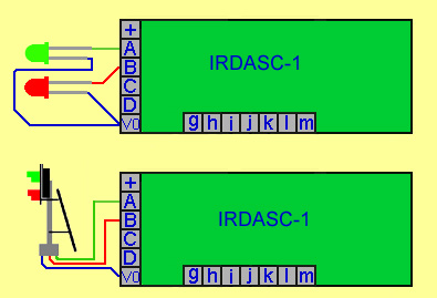 Diagram showing IRDASC-1 connected to a signal and to the internal wiring of LEDs within the signal