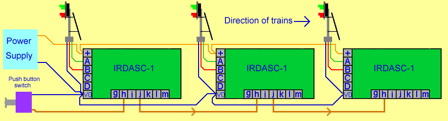 Wiring 3 IRDASC-1s to signal power TES and train detected terminals