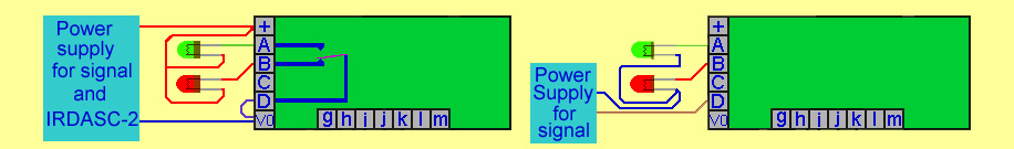 The LED colour light signal can be wired to use the same power supply as the signal control board or two seperate supplirs can be used.