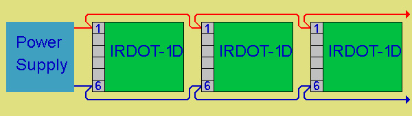 shows how 3 irdot-1ds are connected to the same power supply